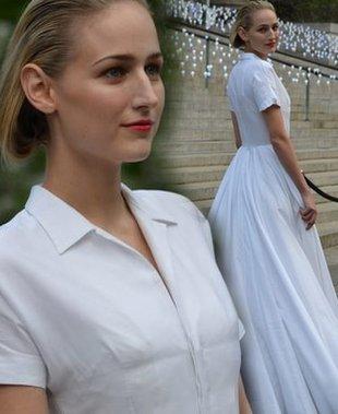 Leelee Sobieski w białej sukience Jil Sander (FOTO)