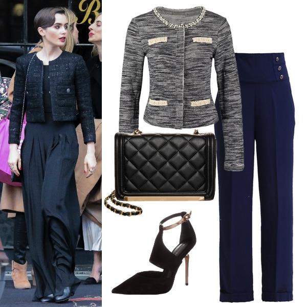 Pudełkowy żakiet i szerokie spodnie - w stylu Lily Collins