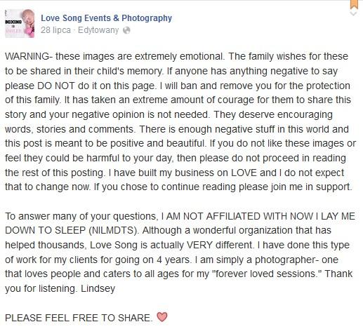 Para uczciła pamięć swojej zmarłej córeczki sesją zdjęciową