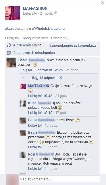 Fani na Facebooku atakują Maffashion?