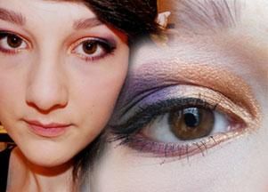 Makijaż w kolorze fioletu i miedzi