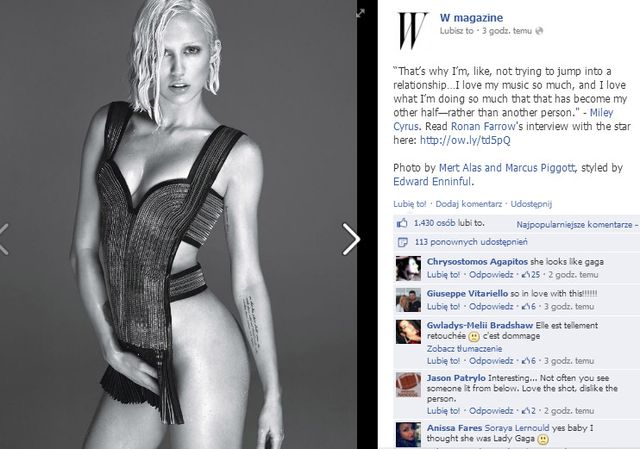 Miley Cyrus naga na okładce W Magazine
