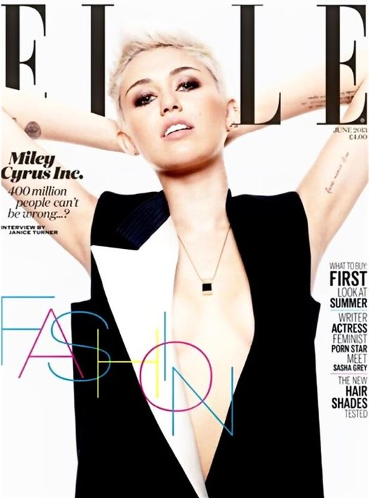 Miley Cyrus na okładkach Elle w 2009 i 2013 roku