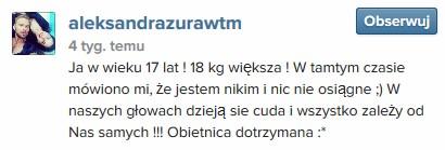 Ola Żuraw z Top Model była 18 kg większa !