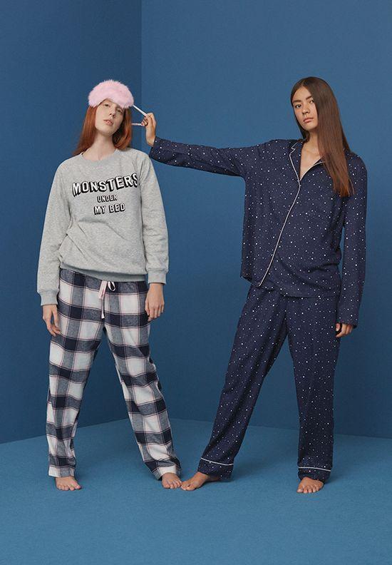 Oysho Blue Night - Młodzieżowe, przeurocze, zabawne piżamki na zimę 2016