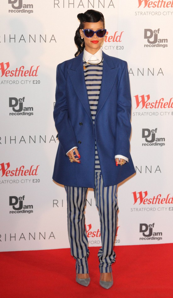 Rihanna w ubraniach z męskiej kolekcji