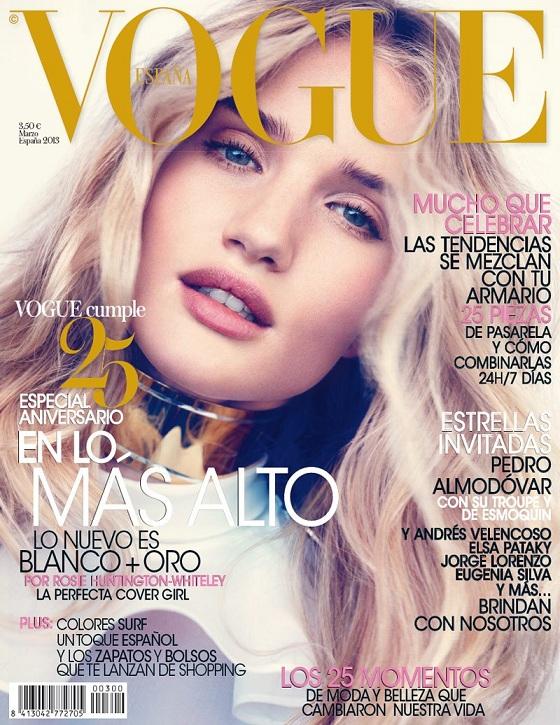 Rosie Huntington-Whiteley na marcowej okładce Vogue Spain