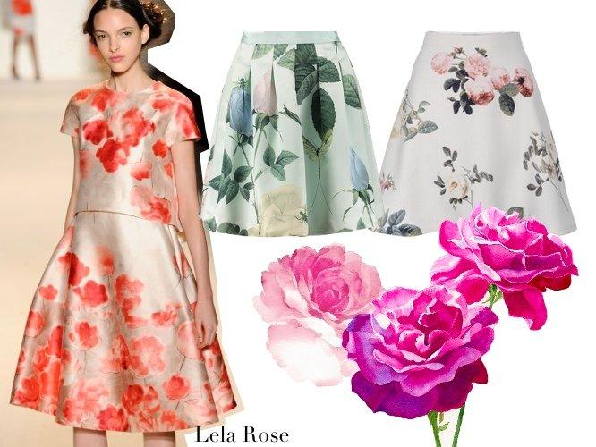 rozkloszowana spódnica w róże