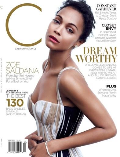 Subtelna Zoe Saldana na okładce C magazine