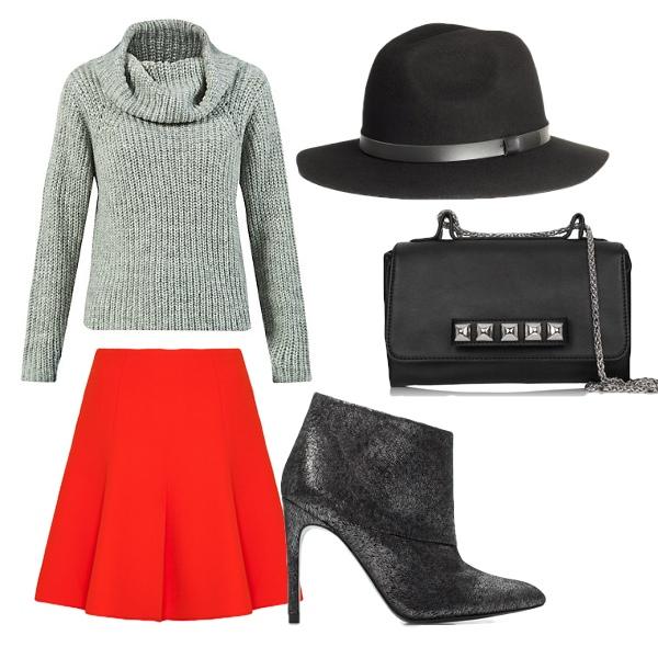 Rozkloszowana spódnica i sweter, czyli sposób na jesień