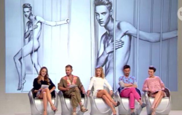 Pokaz, męska depilacja, nagośc i... robaki w Top Model