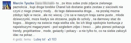 Marcin Tyszka ostro o blogerkach pseudo-modowych...
