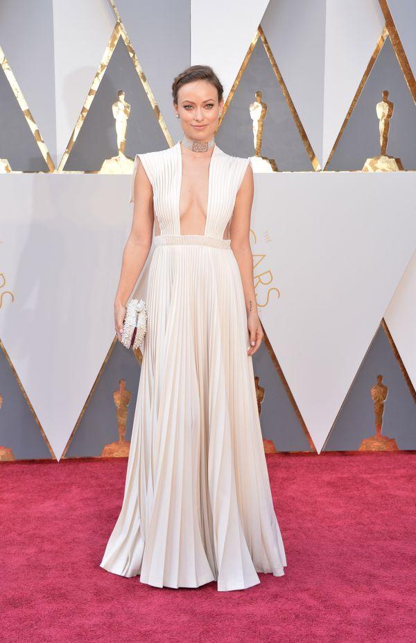 Piękna Olivia Wilde w plisowanej sukience maxi od Valentino