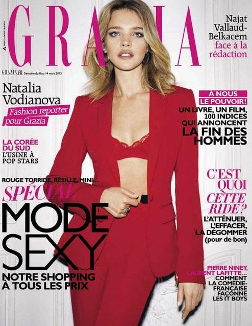 Natalia Vodianova w czerwonym garniturze na okładce Grazia