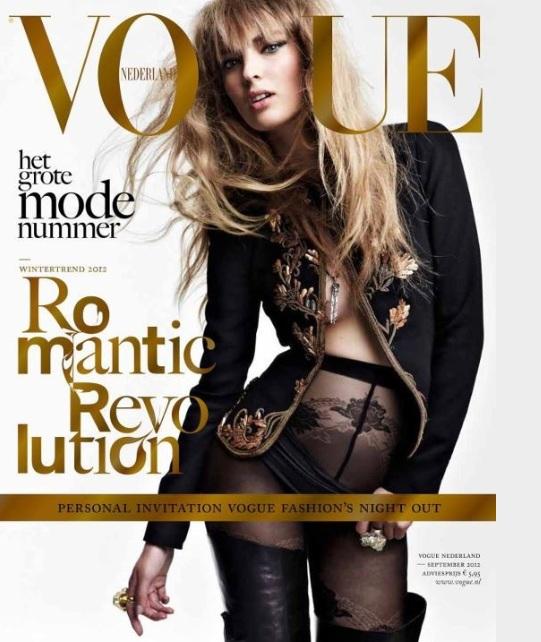 Ciężarna Ymre Stiekema w holenderskim Vogue