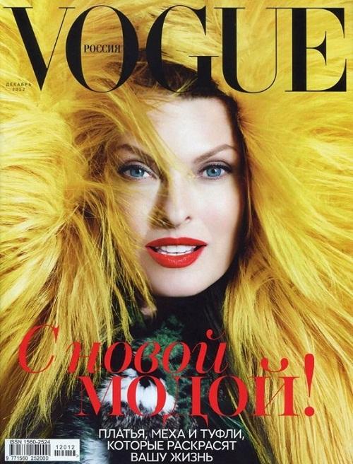 Linda Evangelista na grudniowej okładce  Vogue Russia