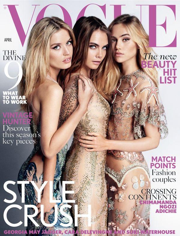 Georgia, Cara Delevingne i Suki Waterhouse nago w Vogue!