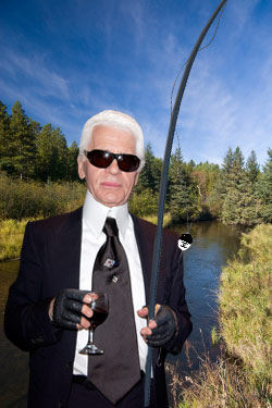 Karl Lagerfeld reklamuje wędki