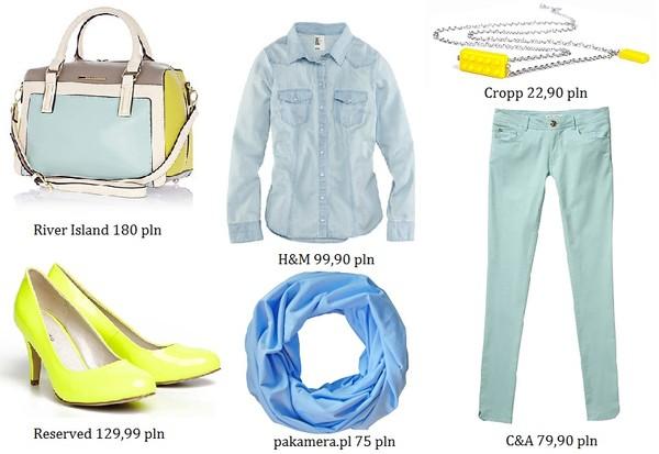 Propozycje zestawów: limonka z błękitem