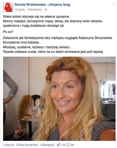Dorota Wróblewska chwali Katarzynę Skrzynecką bez makijażu