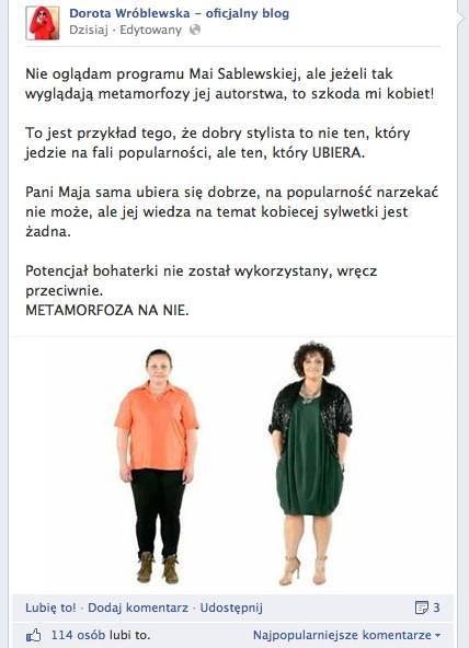 Dorota Wróblewska skrytykowała Maję Sablewską...