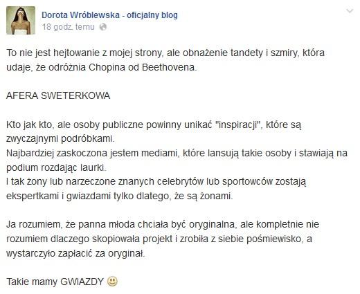 Dorota Wróblewska ostro skrytykowała Sarę Mannei!