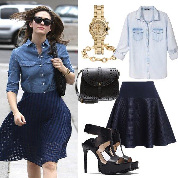 Zestaw dnia: Jeansowa koszula i rozkloszowana spódnica