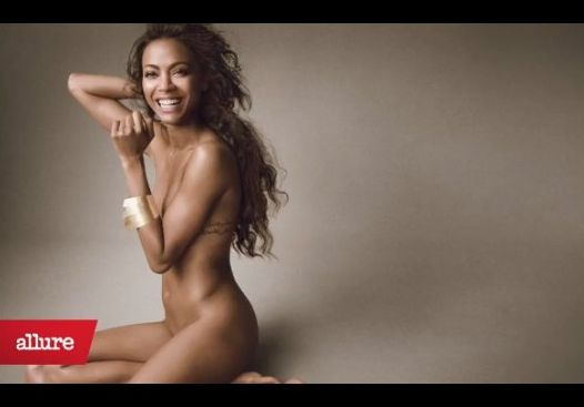 Zoe Saldana naga w Allure (VIDEO)