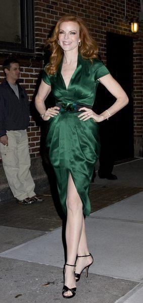 Marcia Cross w zielonej sukience Malandrino