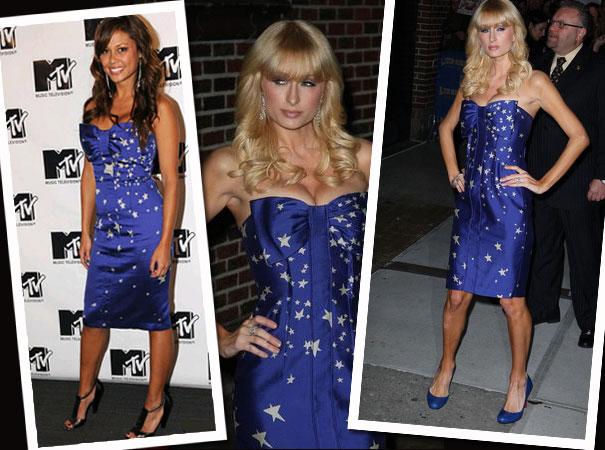 Paris Hilton i Vanessa Minillo w sukience w gwiazdki