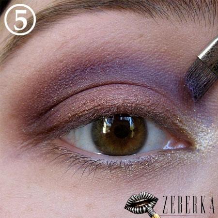 Brązowo-fioletowy makijaż krok po kroku