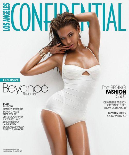 Nasmarowana oliwką Beyonce w kostiumie kąpielowym