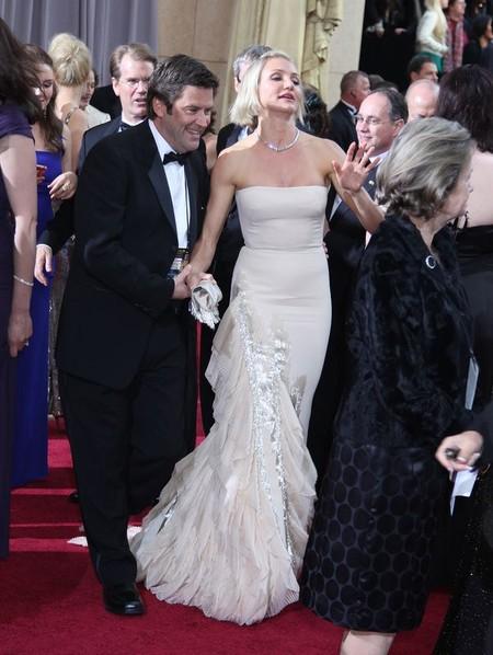 Cameron Diaz w kremowej sukni Gucci