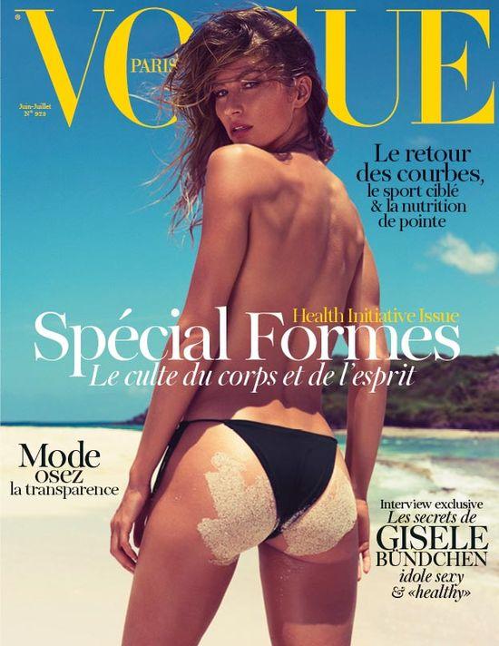 Półnoga Gisele Bundchen na okładce Vogue'a