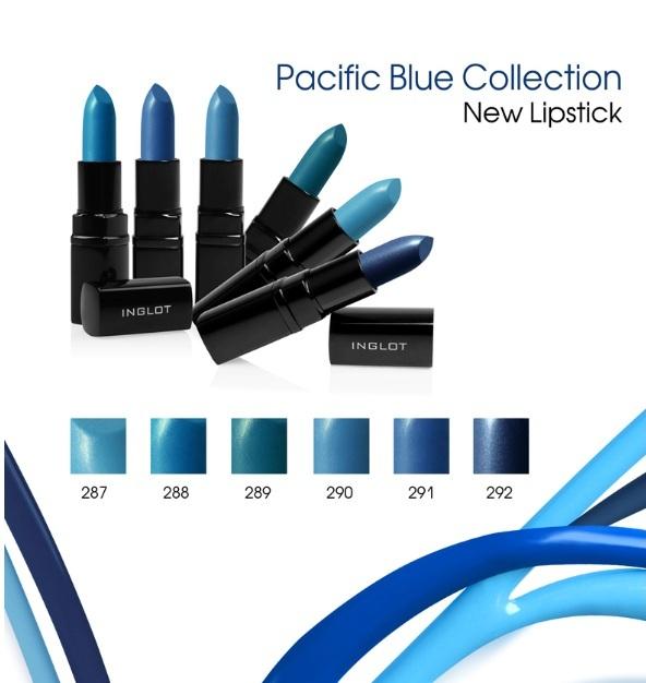 Niebieskie pomadki Inglot Pacific Blue