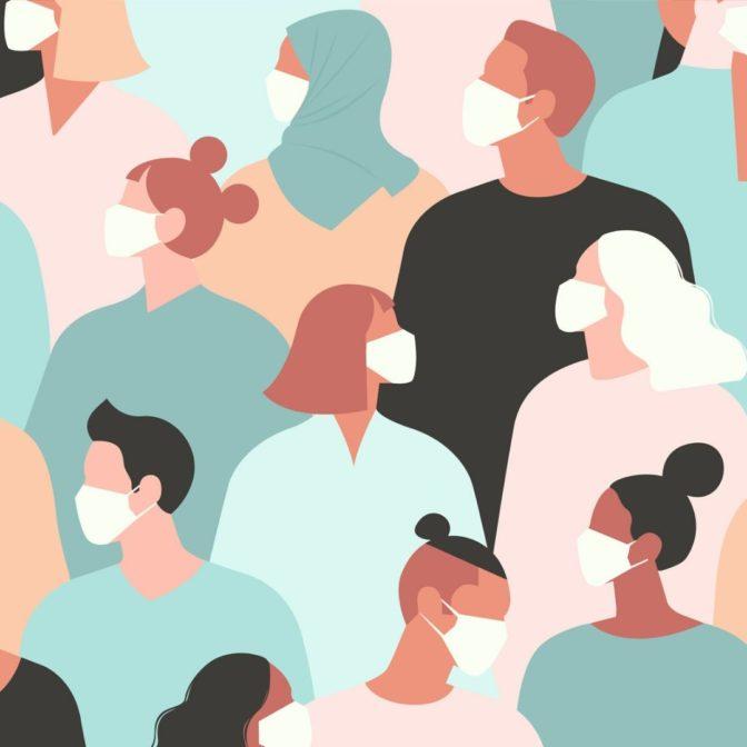 Grafika ukazująca ludzi w maseczkach w kolorowych ubraniach